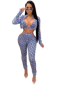 Herbst Party Sexy Print 3PC Hosen Set