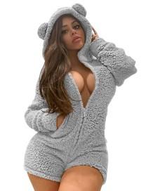 Winter Polar Fleece Zip Up Hoody Lounge Rompertjes