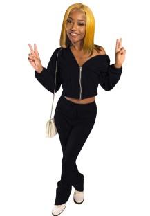 Conjunto de pantalón y top corto con cremallera liso a juego de dos piezas de otoño