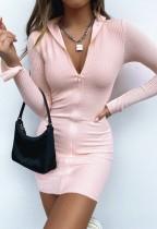 Mini vestido de manga larga con cremallera liso liso de otoño
