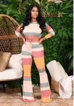 Sonbahar İki Parçalı Renkli Kırpma Üstü ve Flare Pantolon Seti