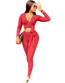 Autumn Two Piece Matching Sexy Wrapped Crop Top and Pants Set