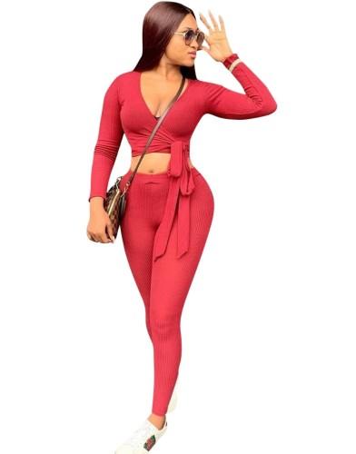 Conjunto de calça e blusa de duas peças envolvida sexy para outono