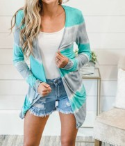 Autumn Tie Dye Pocketed Long Cardigans