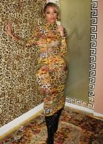 Tam Kollu Sonbahar Leopar Baskı Uzun Kıvrımlı Elbise
