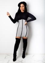 Осеннее сексуальное контрастное облегающее платье с длинными рукавами