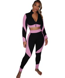 Conjunto deportivo de otoño con cremallera en contraste y legging de cintura alta