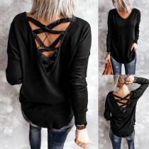 Chemise ample noire à col en V et lacets d'automne