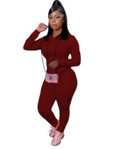 Solid Plain Sport Hoody Pocketed Sweatsuit