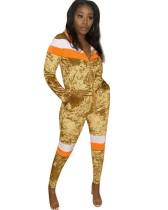 Herbst Zip Up Stripes Velvet Trainingsanzug