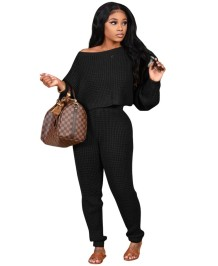 Solid Plain Casual Crop Top and Pants Lounge Set