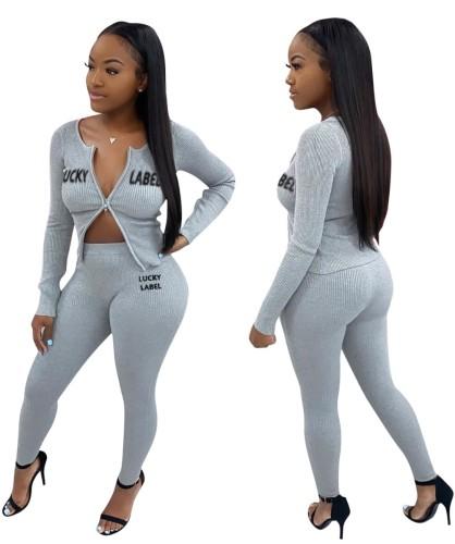 Conjunto de calça e blusa com zíper com estampa de carta de outono