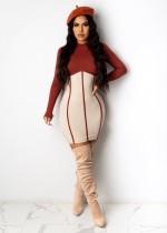 Herfst sexy bodycon-jurk met contrasterende lange mouwen
