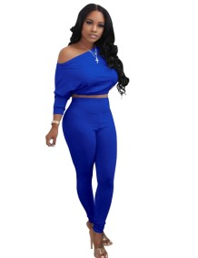 Fall Plain Crop Top en High Waist Legging Set