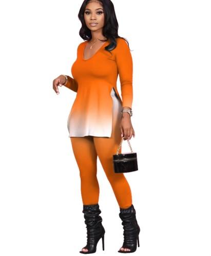 Conjunto de calças e camisa de duas peças com fenda gradiente de outono