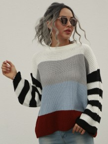 Autumn Contrast Round Neck Pullover Sweater