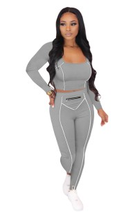 Autumn Sports Fitness Crop Top and Pants Set