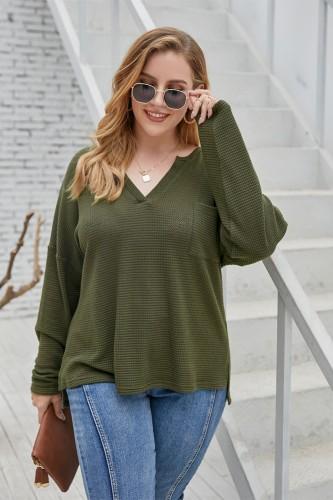 Plus Size Autumn Solid Color V-Neck Regular Shirt