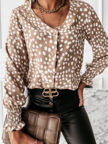 Autumn Dot Print Button Up Long Sleeve Blouse