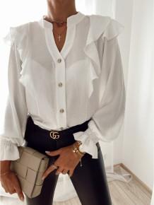 Blusa de manga larga con volantes blancos de otoño