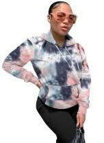 Sudadera con capucha con bolsillo y efecto tie dye de invierno