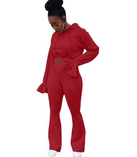 Jaqueta de moletom outono cor sólida e calças com capuz