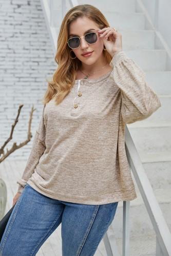 Plus Size Autumn Print Round Neck Regular Shirt