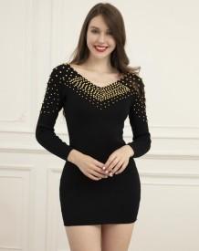 Autumn Black Beaded V-Neck Mini Club Dress with Full Sleeves