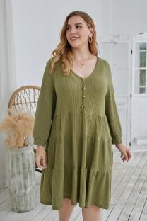 Büyük Beden Sonbahar Düz Renk V Yaka A-Line Günlük Elbise