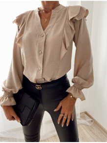 Blusa de manga larga con volantes de color caqui de otoño