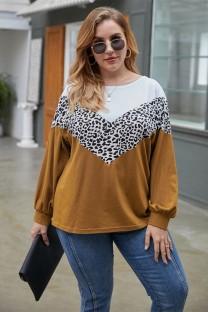 Осенняя контрастная рубашка с круглым вырезом и леопардовым принтом больших размеров