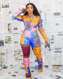 Autumn Africa Print Colorful Zipper Jumpsuit