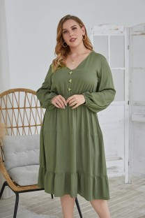 Plus Size Autumn Solid Color V-Neck Long Casual Dress