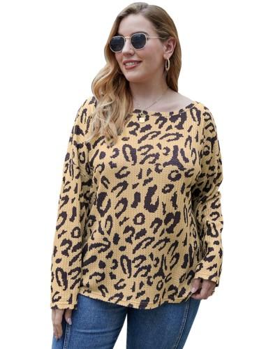 Plus Size Autumn Leopard O-Neck Shirt