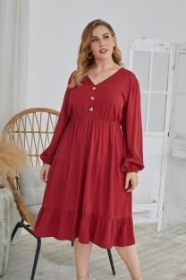 Artı Boyutu Sonbahar Düz Renk V Yaka Uzun Günlük Elbise