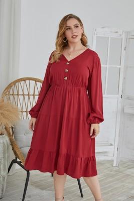 Robe longue décontractée à col en V de couleur unie d'automne de grande taille