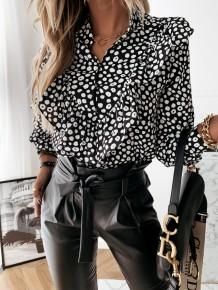 Blusa de manga larga con volantes y estampado de puntos de otoño