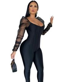 Sexy schwarzer Bodycon-Overall für die Herbstparty mit Bubble-Mesh-Ärmeln