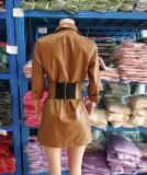 Vestido blazer de cuero de invierno con cinturón ancho a juego