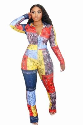 Combinaison à glissière colorée à imprimé automne Afrique