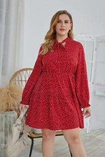 Büyük Beden Sonbahar Nokta Baskı Bağlamalı Günlük Elbise