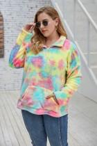 Plus Size Tie Dye Pocket Pullover Top