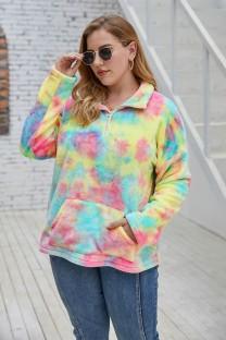 Пуловер больших размеров с карманами с принтом тай-дай