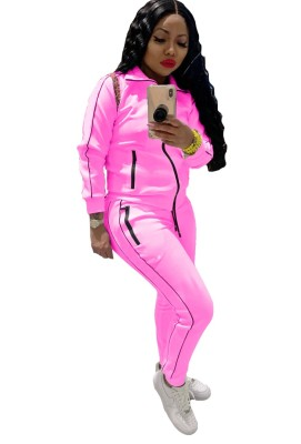 Autumn Solid Color Long Sleeve Zip Up Tracksuit