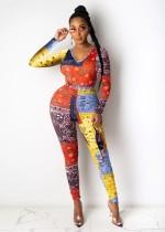 Tuta aderente colorata a maniche lunghe con stampa autunno Africa