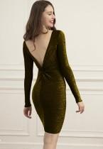 Herbst Sexy Metallic V-Schwarz Mini Club Kleid mit vollen Ärmeln