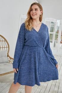 Plus Size Autumn Stripes V-Neck Casual Dress