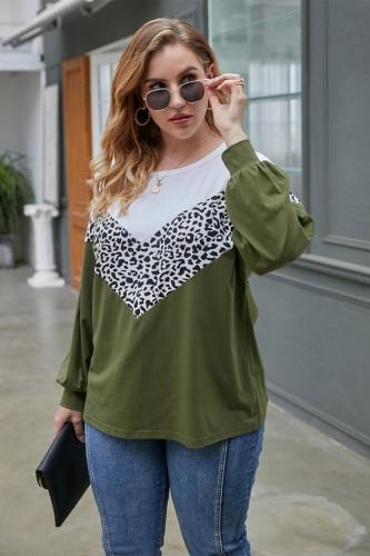 Plus Size Autumn Contrast Leopard O-Neck Shirt