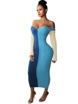 Winterkontrast Rippenlanges Kleid mit V-Ausschnitt