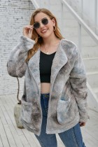 Plus Size Winter Tie Dye Polar Fleece Mantel mit Taschen